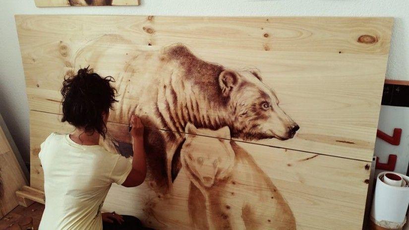 dibujos sobre madera