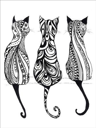 gatos para dibujar en madera