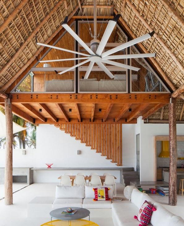 casas con techos de madera